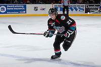KELOWNA, CANADA - SEPTEMBER 28:   Henrik Nyberg #21 of the Kelowna Rockets skates on the ice against the Victoria Royals at the Kelowna Rockets on September 28, 2013 at Prospera Place in Kelowna, British Columbia, Canada (Photo by Marissa Baecker/Shoot the Breeze) *** Local Caption ***