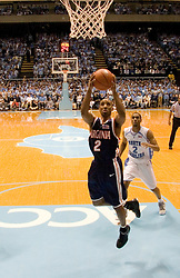 J.R. Reynolds (2) prepares a shot against North Carolina.  The #1 ranked Tar Heels beat the Cavaliers 79-69 to improved to 15-1 overall, 2-0 ACC on January 10, 2007 at the Dean Smith Center in Chapel Hill, NC...<br />