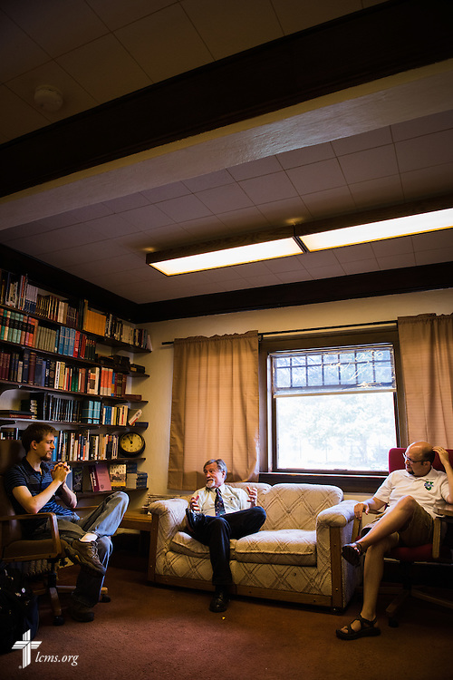 Dr. E. Christian Kopff (center), Associate Professor of Classics at the University of Colorado, Boulder, meets with law student and University Lutheran Chapel Secretary Thomas Currey (left) and the Rev. Daniel Burhop, campus pastor (right),  on Wednesday, July 22, 2015, at the University Lutheran Chapel in Boulder, Colo. LCMS Communications/Erik M. Lunsford