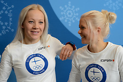 February 8, 2018 - Pyeonchang, Republic of Korea - KAISA MAKARAINEN and MARI LAUKKANEN of the Finnish biathlon team at a press conference prior to the start of the 2018 Olympic Games (Credit Image: © Christopher Levy via ZUMA Wire)