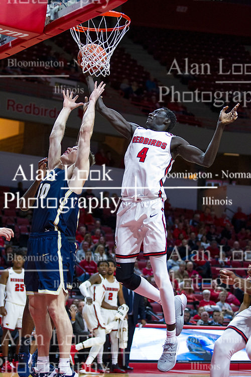 NORMAL, IL - November 29: Abdou Ndiaye shoots over an out of position Yamani Shareef during a college basketball game between the ISU Redbirds and the Prairie Stars of University of Illinois Springfield (UIS) on November 29 2019 at Redbird Arena in Normal, IL. (Photo by Alan Look)