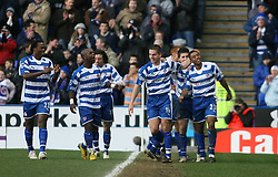 Reading, England - Saturday, January 20, 2007: Reading's Ulises De la Cruz (far right) celebrates the second Reading goal against Sheffield United  during the Premier League match at the Madejski Stadium. (Pic by Chris Ratcliffe/Propaganda)