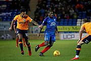 Peterborough United midfielder Anthony Grant (42) and Oldham Athletic striker Aaron Holloway (10) during the EFL Sky Bet League 1 match between Peterborough United and Oldham Athletic at London Road, Peterborough, England on 20 January 2018. Photo by Nigel Cole.
