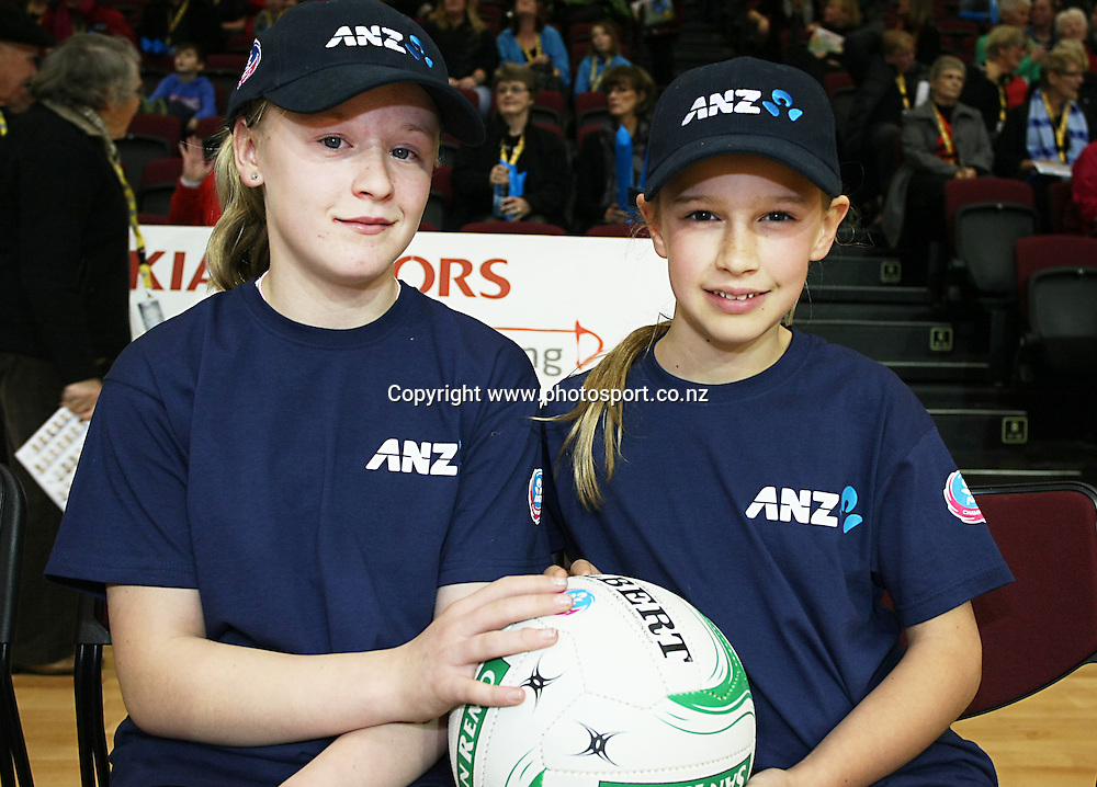 Future Captains Kendra Finnerty (11), left, and Blaise Perry (9) at the ANZ championship netball match, Steel v Vixens, ILT Stadium Southland, Invercargill, New Zealand, Saturday, May 31, 2014. Photo: Dianne Manson / www.photosport.co.nz
