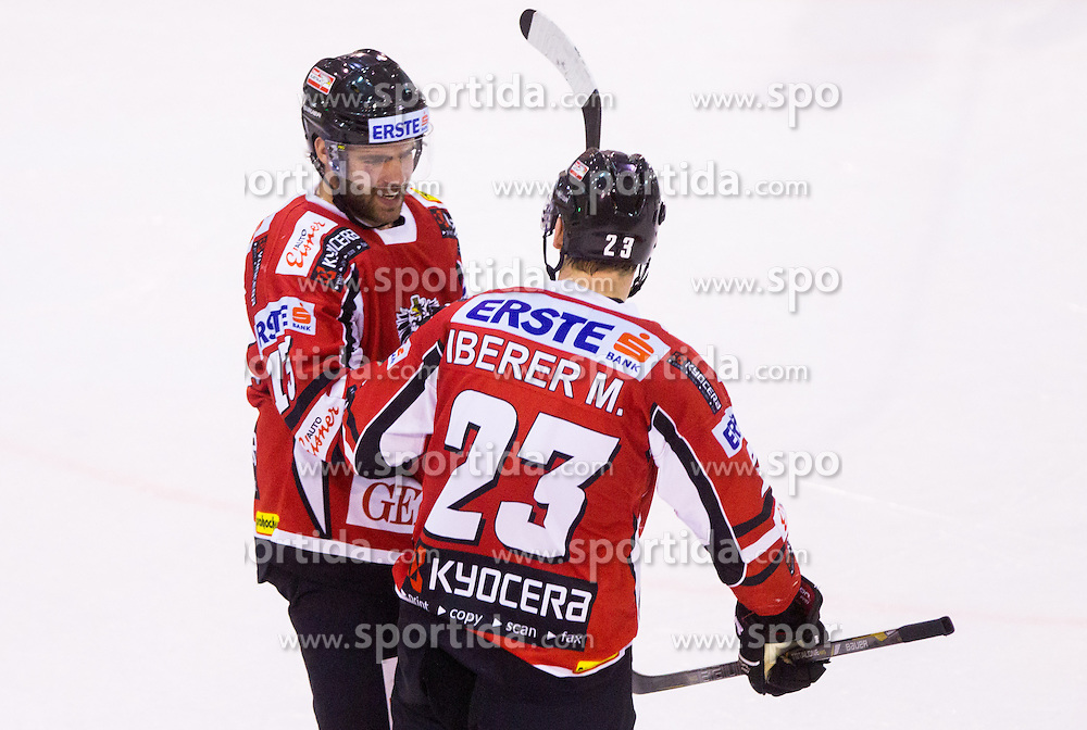 Michael Schiechl and Matthias Iberer of Austria celebrate during Friendly Ice-hockey match between National teams of Slovenia and Austria on April 19, 2013 in Ice Arena Tabor, Maribor, Slovenia.  Slovenia defeated Austria 5-2. (Photo By Vid Ponikvar / Sportida)
