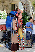 Israel, Jerusalem, Old City, young female backpacker tourist