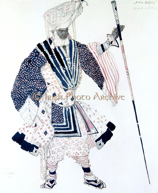 Costume design by Leon Bakst (1866-1924) for Soma, the High Priest in 'Le Dieu Bleu' (The Blue God),  produced in 1911 by Sergei Diaghilev's Ballets Russes. Music by Reynaldo Hahn, Choroegraphy by Michel Fokine.