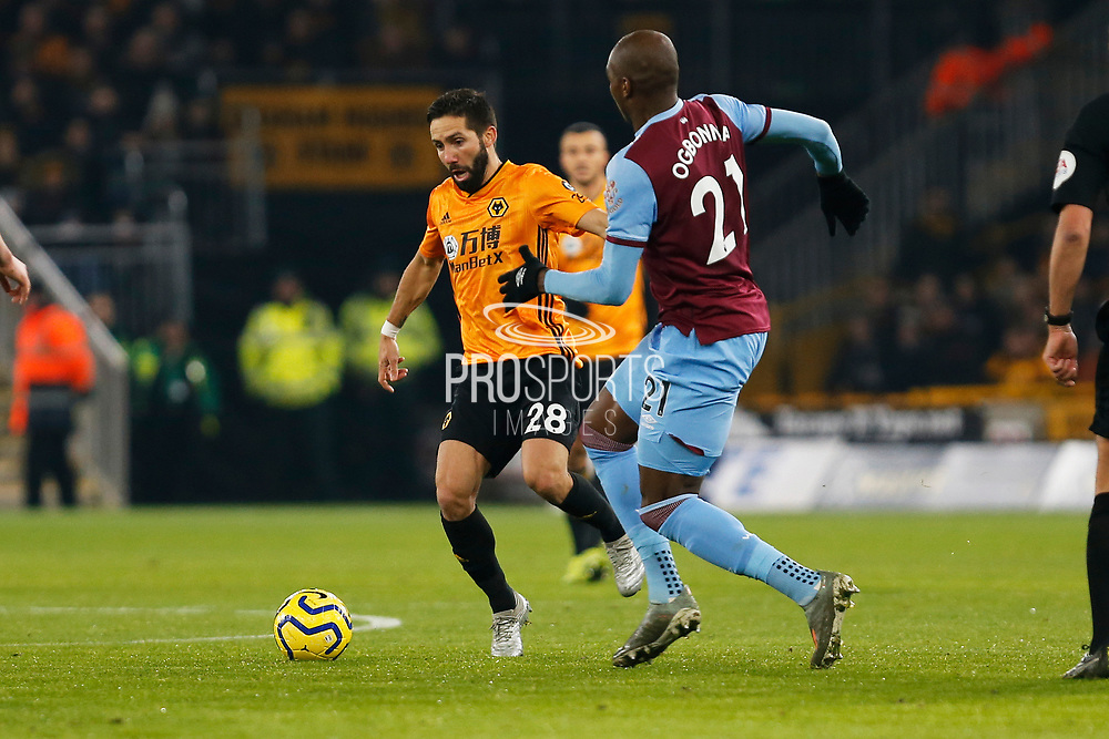 Joao Moutinho in action during the Premier League match between Wolverhampton Wanderers and West Ham United at Molineux, Wolverhampton, England on 4 December 2019.