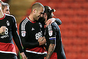 Pajtim Kasami (Nottingham Forest) and Henri Lansbury (Nottingham Forest) celebrate scoring from the penalty spot during the EFL Sky Bet Championship match between Barnsley and Nottingham Forest at Oakwell, Barnsley, England on 25 November 2016. Photo by Mark P Doherty.