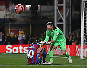 Crystal Palace Goalkeeper Julián Speroni helps Crystal Palace Pape N'Diaye Souare during the The FA Cup 5th Round match between Crystal Palace and Liverpool at Selhurst Park, London, England on 14 February 2015. Photo by Phil Duncan.