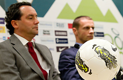 Slavisa Stojanovic, a new head coach of Slovenian National football Team and Aleksander Ceferin, president of NZS during press conference of Football federation of Slovenia, on October 24, 2011, in Brdo pri Kranju, Slovenia.  (Photo by Vid Ponikvar / Sportida)