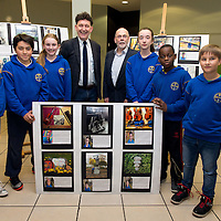 Johnny Flynn and Micheal O Riabhaigh with CBS students Clara Coleman, Sebastian McMahon, Caoimhe Coll, Emma Hayes, Mayomikun Omoniwe and Simon Szymonchmura exhibiting their photographs with a Fleadh Cheoil theme to celebrate the upcoming traditional music event