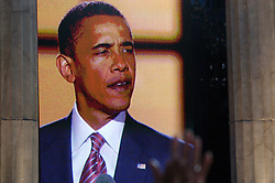 A closeup of Sen. Barack Obama on the jumbo screen as he delivers his Democratic Presidential Nominee acceptance speech on Thursday, August 28, the Democratic National Convention, Invesco Field at Mile High Stadium, Denver Colorado.