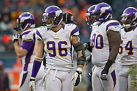 25 November 2012: Defensive end (96) Brian Robison of the Minnesota Vikings lines up with his teammates against the Chicago Bears during the second half of the Bears 28-10 victory over the Vikings in an NFL football game at Soldier Field in Chicago, IL.