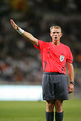 The referee signals for a free kick. Toulouse v Trabzonspor, Europa Cup, Second Leg, Stade Municipal, Toulouse, France, 27th August 2009.