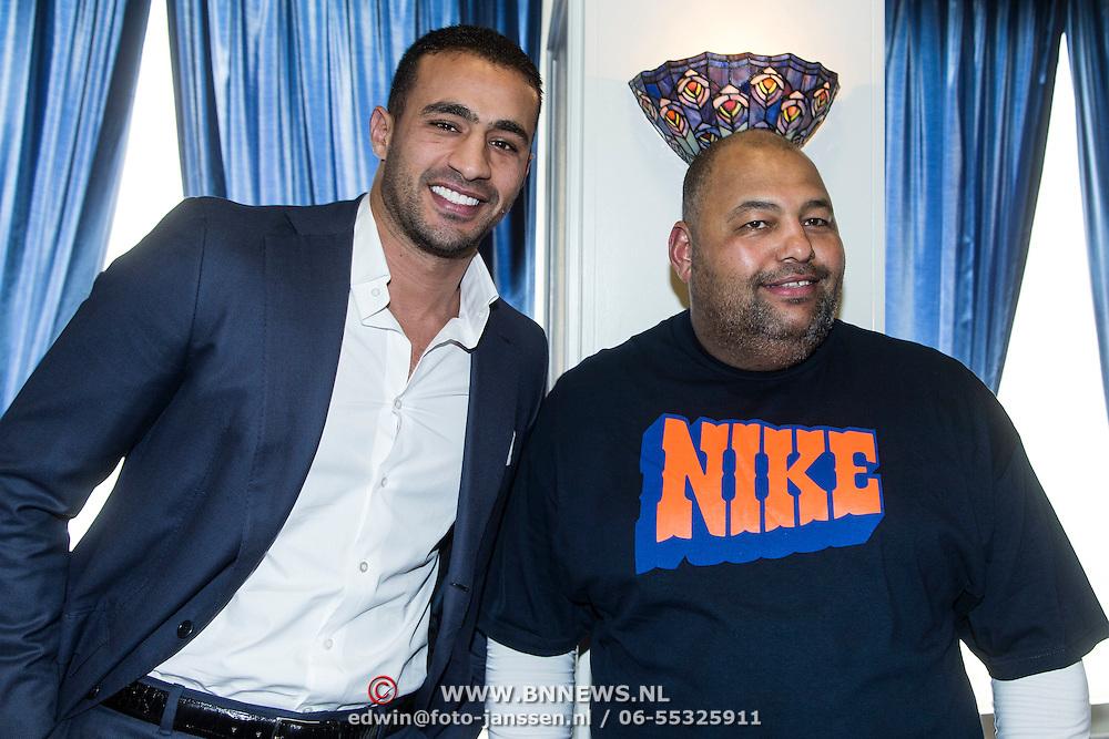 NLD/Amsterdam/20140422 - Boekpresentatie Badr Hari, Badr en trainer Mike Passchenier