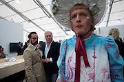 ALEXANDER LEBEDEV; EVEGENY LEBEDEV; GRAYSON PERRY, Opening of Frieze 2009. Regent's Park. London. 14 October 2009
