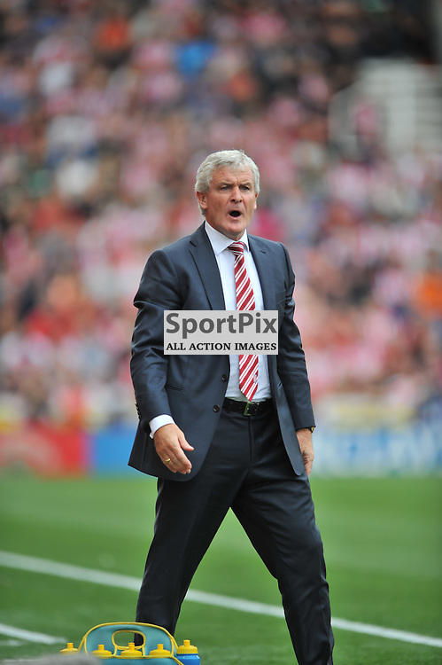 Stoke  Manager Mark Hughes  Stoke City v Liverpool Premiership Brittania Stadium, Sunday 9th August 2015Stoke City v Liverpool Premiership Brittania Stadium, Sunday 9th August 2015