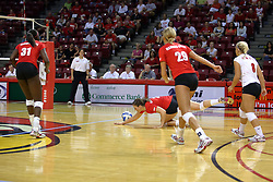 29 AUG 2009: Tabitha Visk dives for a ball but it hits the floor just missing her hand and arm.  The Redbirds of Illinois State were defeated by the Golden Eagles of Oral Roberts in 4 sets during play in the Redbird Classic on Doug Collins Court inside Redbird Arena in Normal Illinois