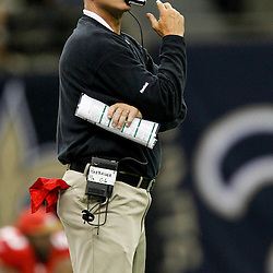 August 12, 2011; New Orleans, LA, USA; San Francisco 49ers head coach Jim Harbaugh during the second half of a preseason game against the New Orleans Saints at the Louisiana Superdome. Mandatory Credit: Derick E. Hingle
