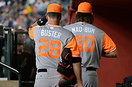 PHOENIX, AZ - AUGUST 26:  Buster Posey #28 and Madison Bumgarner #40 of the San Francisco Giants wearing nickname-bearing jerseys prepare for the game against the Arizona Diamondbacks at Chase Field on August 26, 2017 in Phoenix, Arizona.  (Photo by Jennifer Stewart/Getty Images)