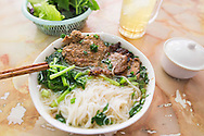 "Traditional vietnamese dish ""bun cha"", a grilled pork and rice vermicelli based delicacy served with a broth and herbs. Hanoi, Vietnam, Southeast Asia"