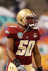 January 9, 2011; San Francisco, CA, USA;  Boston College Eagles linebacker Will Thompson (50) warms up before the 2011 Fight Hunger Bowl against the Nevada Wolf Pack at AT&T Park. Nevada defeated BC 20-13.