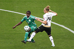 30.06.2011, Commerzbank Arena, Frankfurt, GER, FIFA Women Worldcup 2011, Gruppe A, Deutschland (GER) vs. Nigeria (NGA), im Bild:  Kim Kulig (GER #14, Hamburg) (R) gegen Sarah Michael (Nigeria #12)..// during the FIFA Women Worldcup 2011, Pool A, Germany vs Nigeria on 2011/06/30, Commerzbank Arena, Frankfurt, Germany.  EXPA Pictures © 2011, PhotoCredit: EXPA/ nph/  Mueller *** Local Caption ***       ****** out of GER / CRO  / BEL ******