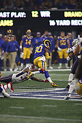 Los Angeles Rams running back Todd Gurley II (30) in action during the NFL Super Bowl 53 football game against the New England Patriots on Sunday, Feb. 3, 2019, in Atlanta. The Patriots defeated the Rams 13-3. (©Paul Anthony Spinelli)