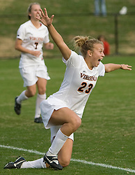 Virginia midfielder/defender Nikki Krzysik (23) reacts after scoring the game winning goal in the 89th minute.  The Virginia Cavaliers defeated the William and Mary Tribe 1-0 in the second round of the NCAA Women's Soccer tournament held at Klockner Stadium in Charlottesville, VA on November 18, 2007.