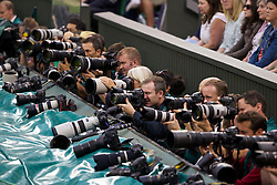 LONDON, ENGLAND - Monday, June 30, 2014: Photographers on the East side of centre court during the Gentlemen's Singles 4th Round match on day seven of the Wimbledon Lawn Tennis Championships at the All England Lawn Tennis and Croquet Club. (Pic by David Rawcliffe/Propaganda)