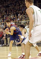 Vlado Ilievski of Barcelona vs Andres Rodriguez of Olimpija during Euroleague basketball match between KK Union Olimpija and Barcelona, on November 11, 2004, in Hala Tivoli, Ljubljana, Slovenia. (Photo By Vid Ponikvar / Sportida.com)