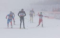 01.02.2013, Olympiaarena, Sotschi, RUS, FIS Langlauf Weltcup, Sprint Maenner, im Bild Zieleinlauf Viertelfinal, Dario Cologna (1, SUI) vor Anton Gafarov (10, RUS) und Harald Wurm (21, AUT) // during sprint men of FIS cross country world cup at Olympic Arena in Sotschi, RUS,] on 2013/02/01. EXPA Pictures © 2013, PhotoCredit: EXPA/ Freshfocus/ Merkushev..***** ATTENTION - for AUT, SLO, CRO, SRB, BIH only *****
