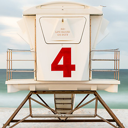 Pensacola Beach lifeguard tower four panoramic photo on Casino Beach. Pensacola Beach Florida is a coastal city on Santa Rosa Island in the Southeastern United States of America. Panorama photo ratio is 1:3. Copyright ⓒ 2018 Paul Velgos with All Rights Reserved.