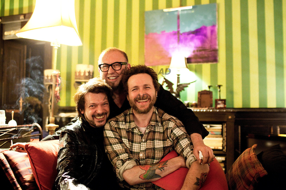 Nicola Guiducci (left), Oliviero Leti and Lorenzo Cherubini alias jovanotti at La Casa dei Demoni. .La casa dei demoni (The house of demons) is in a private apartment of seven hundred and fifty square meters, ten minutes from the Duomo. The owner is Oliviero Leti, PR and event organizer who has decided to turn his apartment into an open place, where he host a selection of very few guests.