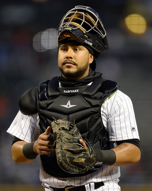 CHICAGO - APRIL 21:  Omar Narvaez #38 of the Chicago White Sox looks on against the Cleveland Indians on April 21, 2017 at Guaranteed Rate Field in Chicago, Illinois.  (Photo by Ron Vesely)   Subject:  Omar Narvaez