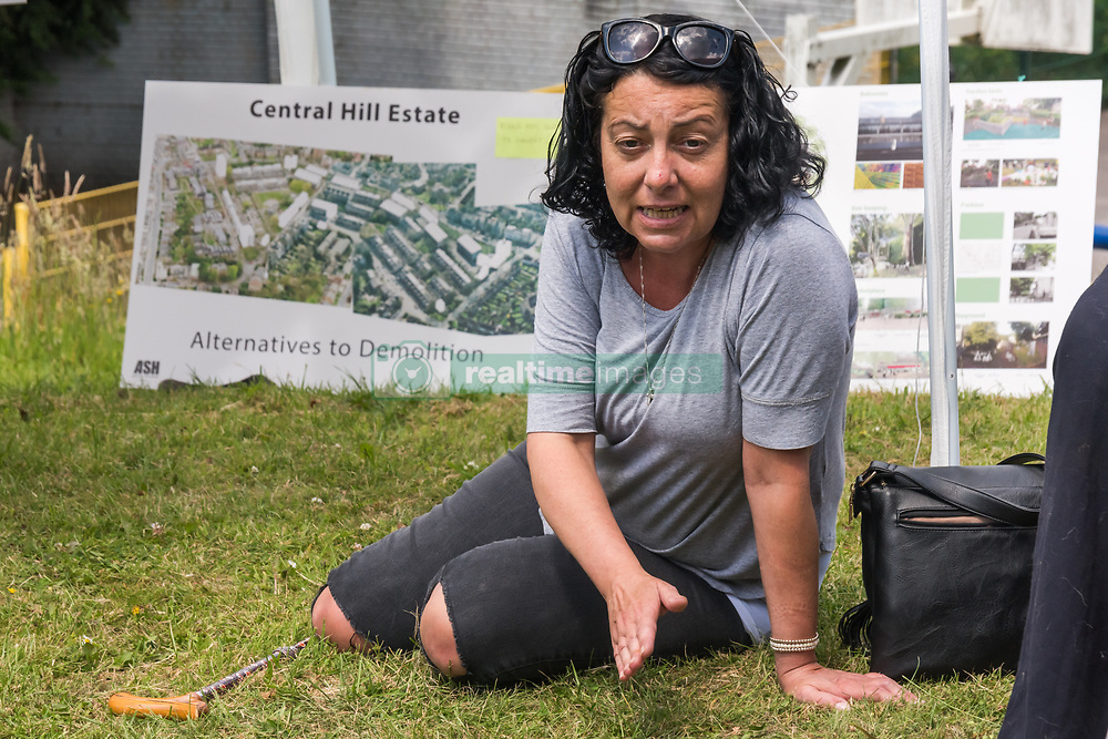 June 18, 2017 - London, UK - London, UK. 18th June 2017. Nicola Curtis who was also elected by residents to be a member of the Resident Engagement Panel speaks about the managed neglect of the estate and reveals that Lambeth Council have now said they will no longer engage with her and Karne Bennett despite their having been elected by estate residents.  They are continuing the campaign to save the Central Hill Estate, passed for demolition by the council despite the almost unanimous vote of residents for plans to refurbish rather than demolish and the plans by Architects for Social Housing which would acheive the increase in density desired without demolition. THe estate was planned by borough architect Ted Hollamby as a living community and was built to exceptional standards and was remarkably successful, with a number of original residents from the 1970s still living there and wanting to continue to do so. When it was built the Labour council believed that nothing was too good for the working people and the estate is still in remarkably sound condition despite a deliberate process of managed neglect - like that which had resulted in the Grenfell Tower disaster - by Lambeth Council to over the past 20 or so years to promote its demolition.  Peter Marshall ImagesLive (Credit Image: © Peter Marshall/ImagesLive via ZUMA Wire)