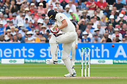 Chris Woakes of England swots the bat at a bouncer during the International Test Match 2019 match between England and Australia at Edgbaston, Birmingham, United Kingdom on 3 August 2019.
