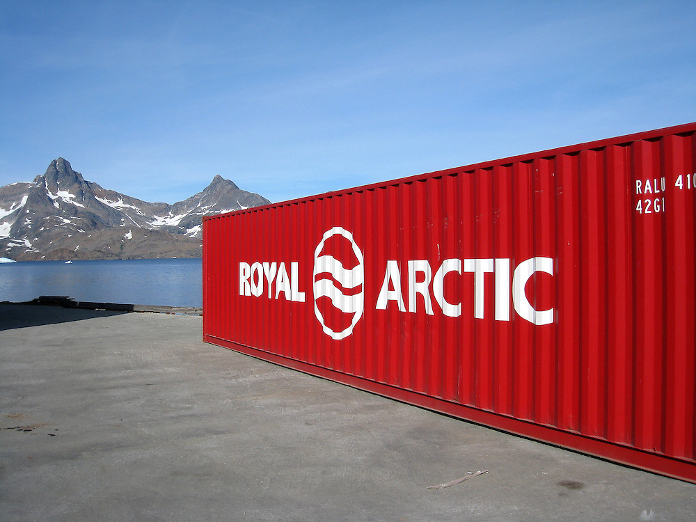 A container sits of the dock of Tasiilaq, south-east Greenland - most of their produce has to be shipped in every few weeks