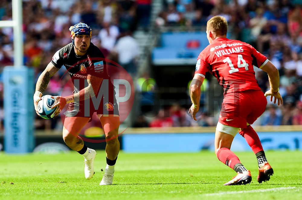 Jack Nowell of Exeter Chiefs is challenged by Liam Williams of Saracens - Mandatory by-line: Ryan Hiscott/JMP - 01/06/2019 - RUGBY - Twickenham Stadium - London, England - Exeter Chiefs v Saracens - Gallagher Premiership Rugby Final