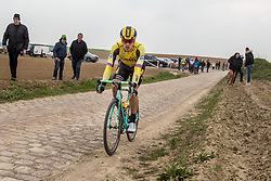 Danny van Poppel (NED) of Team Jumbo-Visma (NED,WT,Bianchi) on cobblestone sector 26 during the 2019 Paris-Roubaix (1.UWT) with 257 km racing from Compiègne to Roubaix, France. 14th April 2019. Picture: Thomas van Bracht | Peloton Photos<br /> <br /> All photos usage must carry mandatory copyright credit (Peloton Photos | Thomas van Bracht)