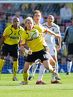 Photo: Leigh Quinnell.<br /> Watford v Hull City. Coca Cola Championship. 20/10/2007. Watfords Darius Henderson in the middle of the action.