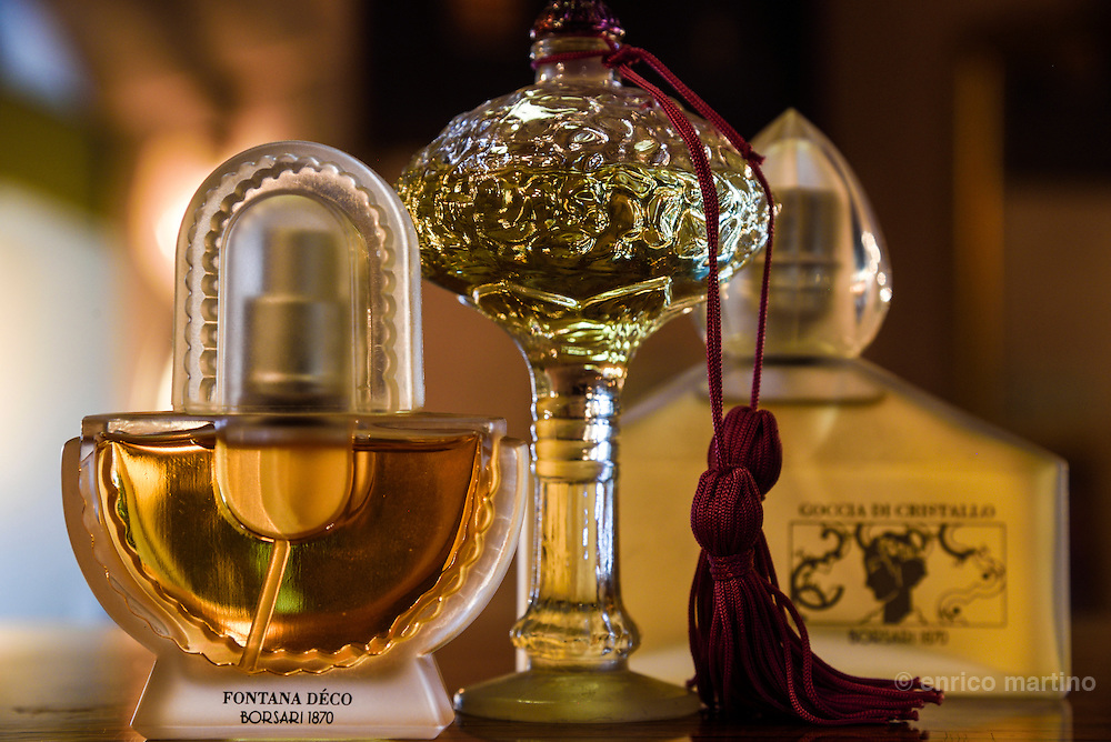 Parma. Vintage collection of Borsari perfume (Perfume's Museum). The perfume Violetta di Parma owes its very existence to Marie Louise and her love of this flower. She supported research by the monks at the Monastery of the Annunciata who obtained an essence from the flowers, identical to that of the violet. The first bottles of Violetta di Parma, produced thanks to the alchemic skills of the monks, were made solely for the personal use of the Duchess Maria Luigia. Around 1870 Lodovico Borsari, obtained from the monks the secret formula for the preparation of this perfume and started producing it for a wider audience. The perfume is still sold today under the brand Collezione Borsari.