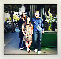 (L_R) CMO Soraya Darabi, 27, CEO Alexa Andrzejewski, 27, and CTO Ted Grubb, 30, are three entrepreneurs who developed the iPhone app, Foodspotting, hang out at the intersection of Valencia and 18th streets in the Mission District, in San Francisco, Ca., on Wednesday, May 25, 2011.