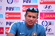 Indian coach Tushar Arothe speaks during the India team press conference held at the Reliance Cricket Stadium in Vadodara,  ahead of the first ODI match between India and Australia on the 11th March 2018<br /> <br /> <br /> Photo by Vipin Pawar / BCCI / SPORTZPICS