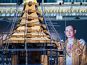 26 SEPTEMBER 2017 - BANGKOK, THAILAND: Workers build the replica of the royal crematorium at City Hall in Bangkok. The model is an exact replica of the crematorium that has been built for the cremation of  Bhumibol Adulyadej, the Late King of Thailand, who died on October 13, 2016 and will be cremated on 26 October 2017. Replicas of the royal crematorium are being built in every province in Thailand.     PHOTO BY JACK KURTZ
