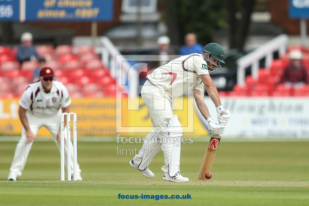 Ben Raine of Leicestershire County Cricket Club (right) digs out a yorker during the LV County Championship Div Two match at Grace Road, Leicester<br /> Picture by Andy Kearns/Focus Images Ltd 0781 864 4264<br /> 27/04/2015