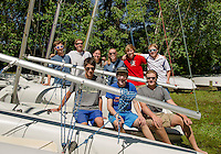 Lake Winnipesaukee Sailing Association staff prepares for their 2015 season.  Sitting among the 420 sailboats (l-r back row) Junior Directors Liam Shanahan and Ben Crosby, Sailing Instructors Elizabeth McCabe, Catherine McLaughlin, Wyatt Himmer and Chris Yopp. (l-r front row) Junior Instructors Samih Shafique, Dawson Ellis and Morgan Himmer.  (Karen Bobotas/for the Laconia Daily Sun)