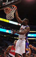 Apr 18, 2010; Phoenix, AZ, USA; Phoenix Suns forward Amare Stoudemire (1) dunks the ball during the first quarter in game one in the first round of the 2010 NBA playoffs at the US Airways Arena.  Mandatory Credit: Jennifer Stewart-US PRESSWIRE