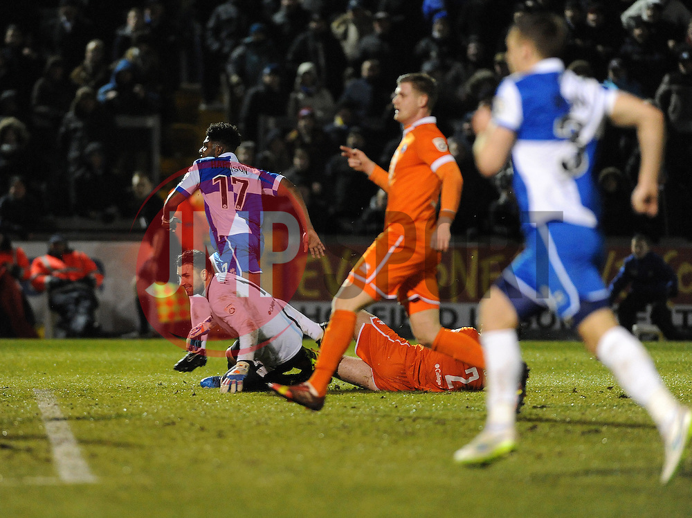 Bristol Rovers' Ellis Harrison grabs the second goal and goes to celebrate - Photo mandatory by-line: Neil Brookman/JMP - Mobile: 07966 386802 - 24/02/2015 - SPORT - Football - Bristol - Memorial Stadium - Bristol Rovers v Braintree - Vanarama Football Conference